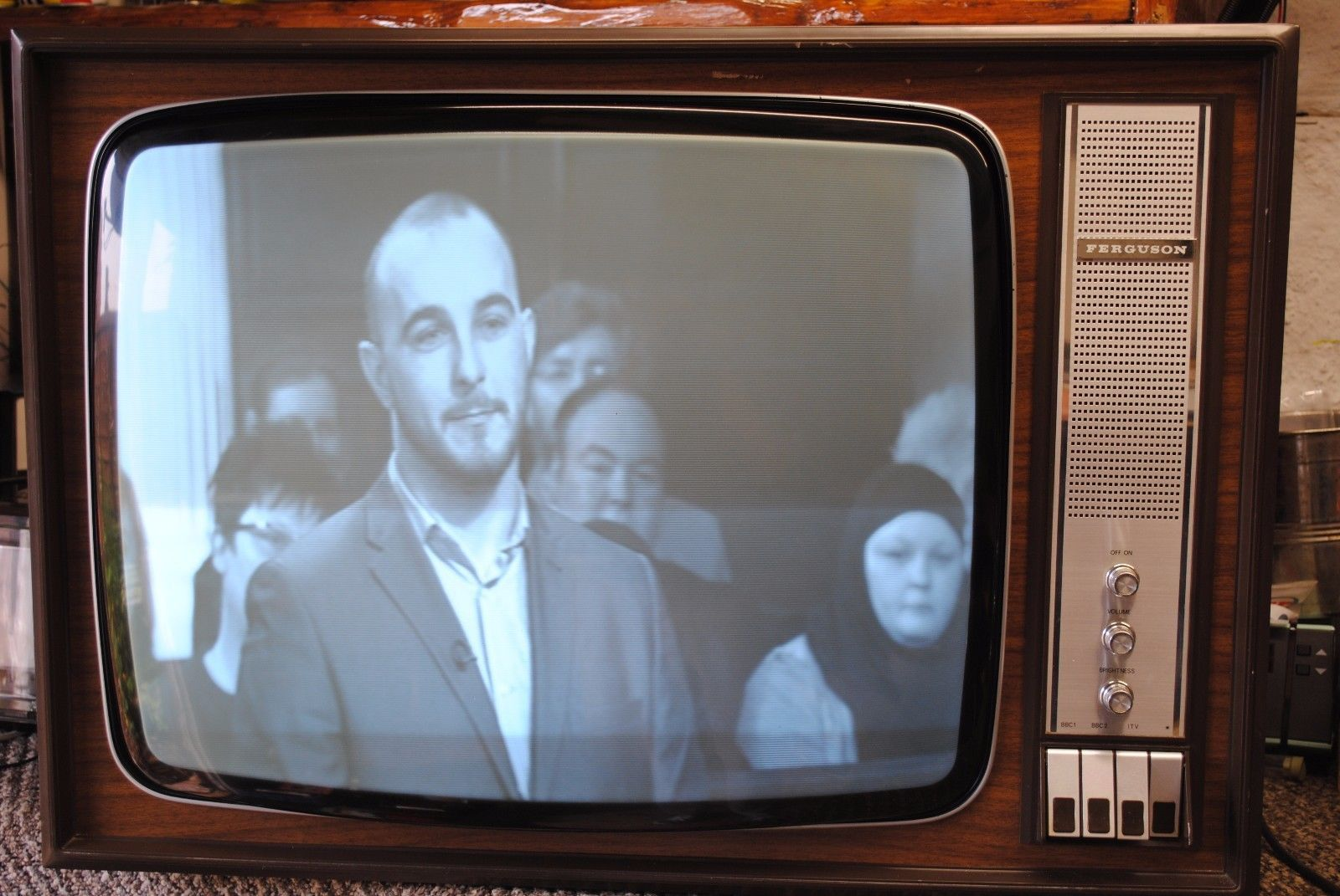 Vintage 1970s Ferguson 24 625 Line Black And White Valve Tv