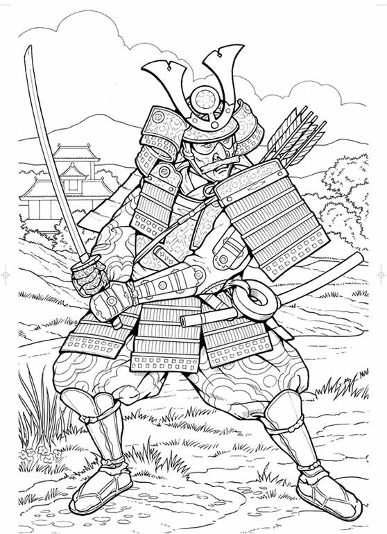 samurai coloring page - Detailed Coloring Pages 2