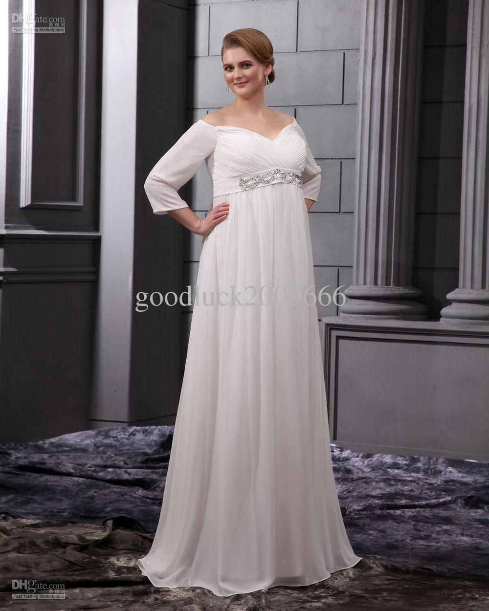 Wholesale wedding dresses long sleeves chiffon beads v neck