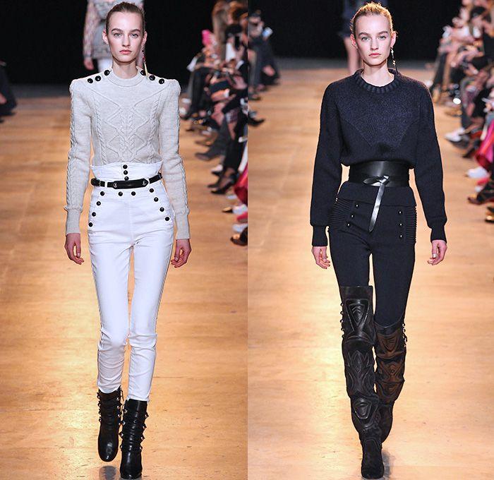 db09cf88874 Isabel Marant 2015-2016 Fall Autumn Winter Womens Runway Catwalk Looks -  Mode à Paris Fashion Week Mode Féminin France - High Waist Sailor Pants  Denim Jeans ...