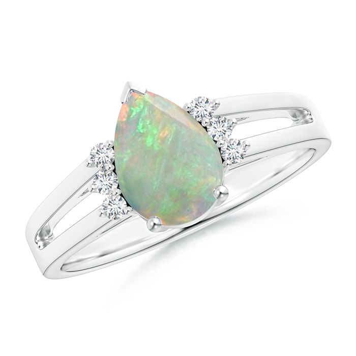 Angara Cabochon Opal Split Shank Ring With Linear Diamond Accents Yellow Gold srtya9A