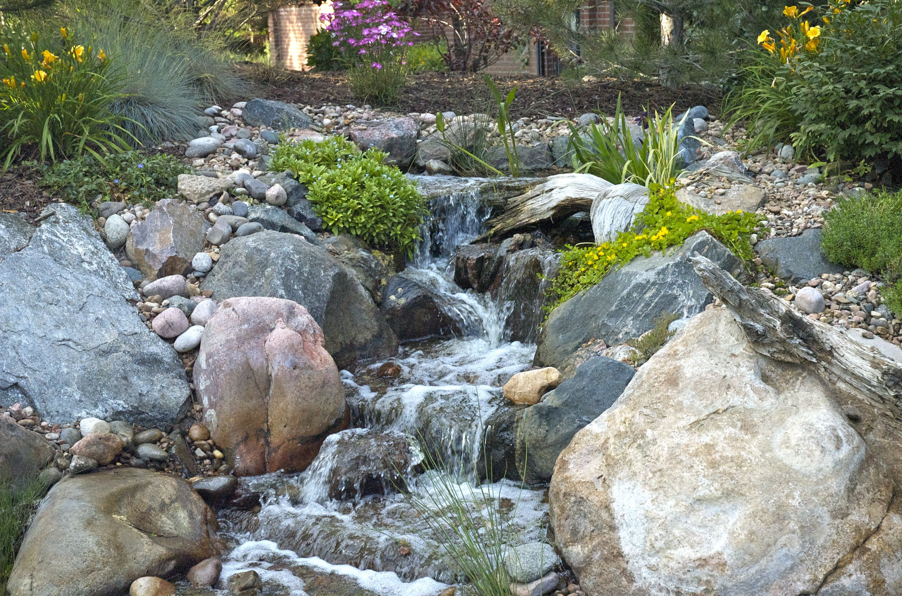 A Pondless Waterfall With Marginal Water Plants Make A Big
