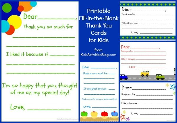 Fill In The Blank Thank You Note Free Printable Printable Thank You Notes Thank You Cards From Kids Thank You Card Template