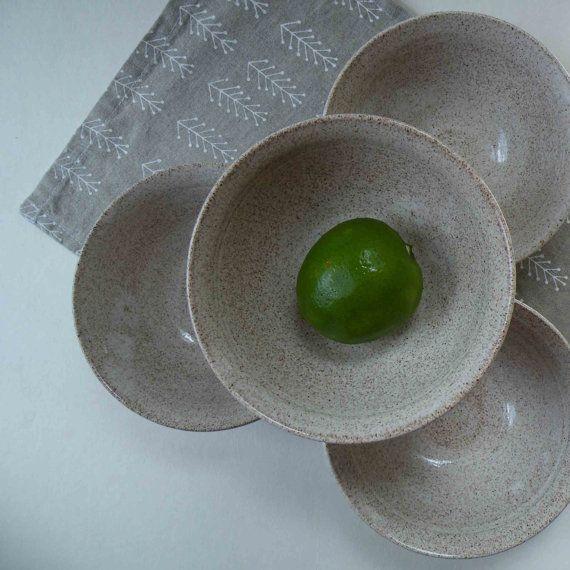SET of FOUR Handmade Speckled White Ice Cream Bowls - Ceramic Granola Bowls - Individual or Set