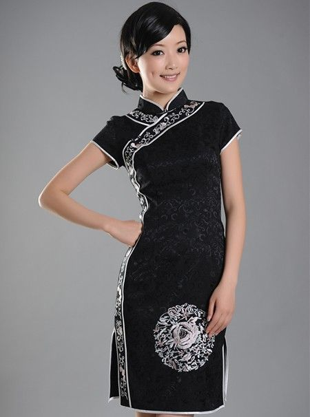 black short cheongsam qipao chinese dress qipao