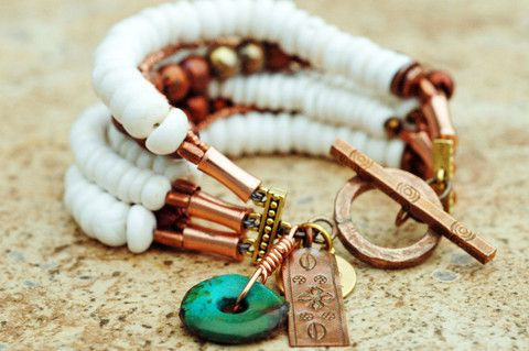 White Puka Shell and African Copper Multi-Strand Charm Bracelet