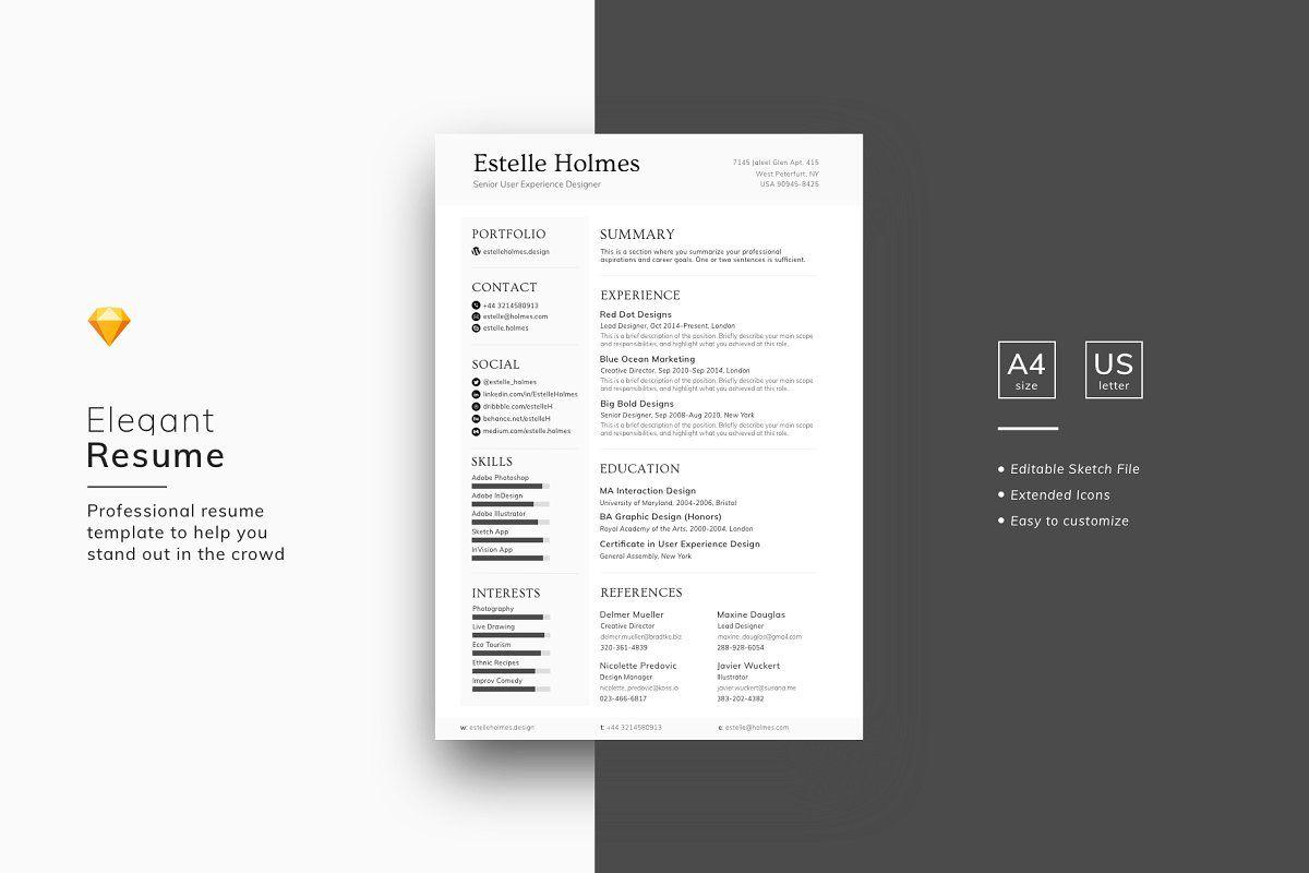 Designer Resume Template Sketch File Resume Template Resume Design Clean Resume Template