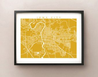 Iowa City Map Art Poster Print Customize Your Map Choose Your