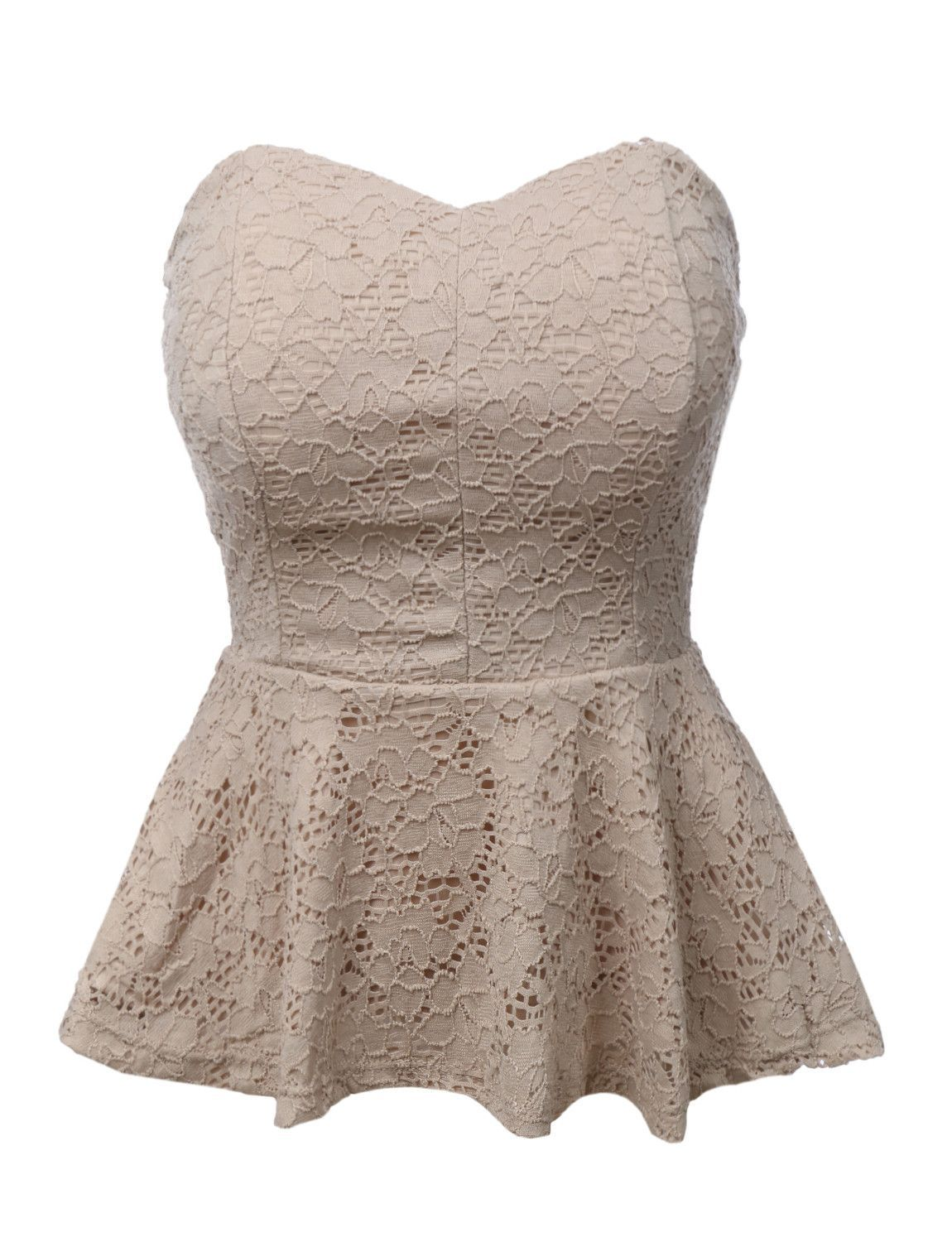 47c365cf35c12 LE3NO Womens Stretchy Strapless Lace Peplum Cropped Top Conjuntos Con Top  Corto
