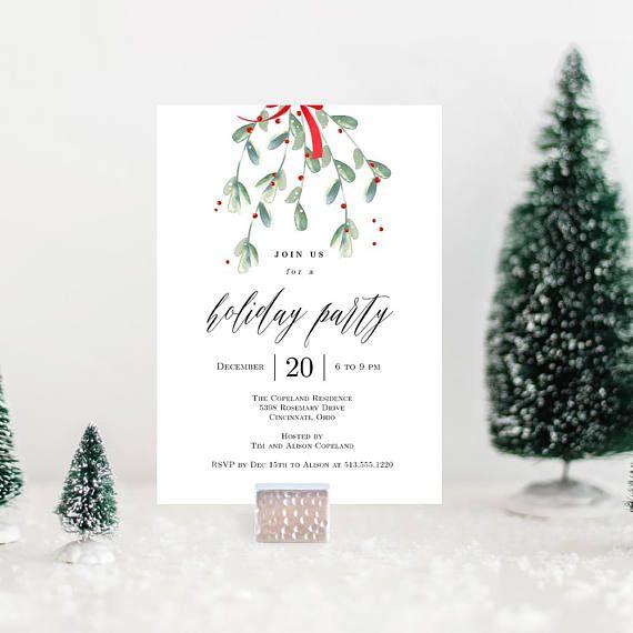 Lovely Mistletoe Christmas Party Invitation Template - Printable