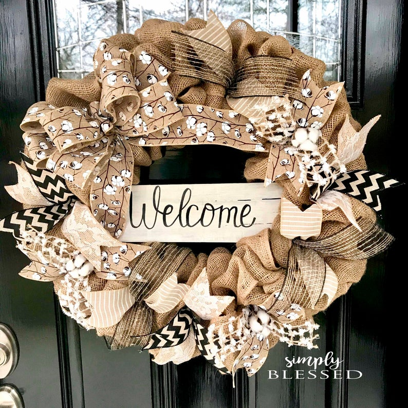 Farmhouse Cotton Welcome Burlap Wreath
