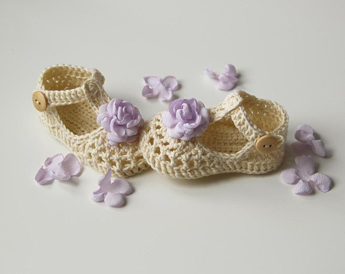 WILLOW Cream and Lavender Shoes, Crochet T-strap Mary Janes,Baby ...