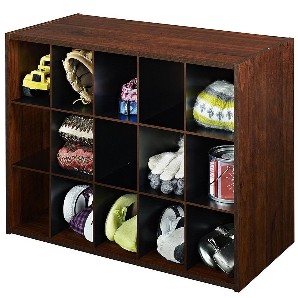 Shoe Storage Cubby Organizer Cabinet Shelf Rack Stackable Cherry Wood 15 Pairs Closetmaid