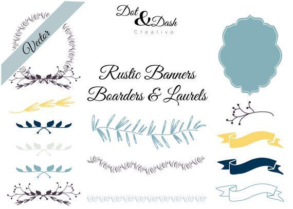 Vector Rustic Banners Boarders And Laurels Digital Clip Art