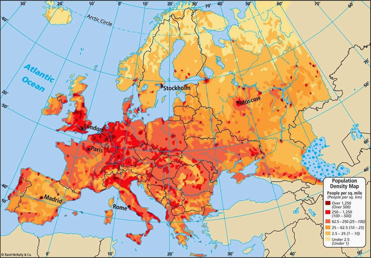 Europe Population Density Map Pinterest