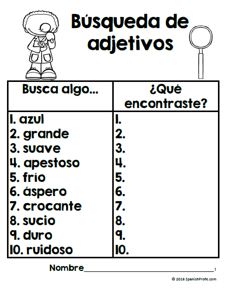 Los adjetivos (Adjectives in Spanish) | Spanisch und Kind