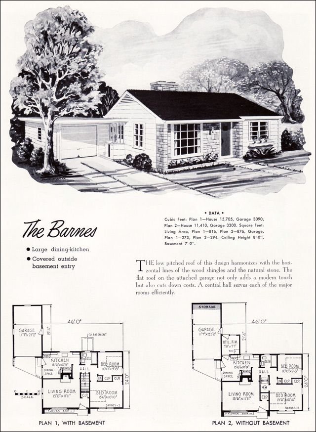 1952 National Service Plan   The Barnes Sq Ft    Larger Has Basement Space]     Should Work Just As Well Today!