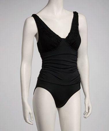 Take a look at this Black V-Neck One-Piece by Jantzen on #zulily today! $39.99, regular 96.00.  Sale ends in 1 days, 16 hours; or, in other words on Saturday, June  8th in the afternoon. So if you're interested, get on it! :)