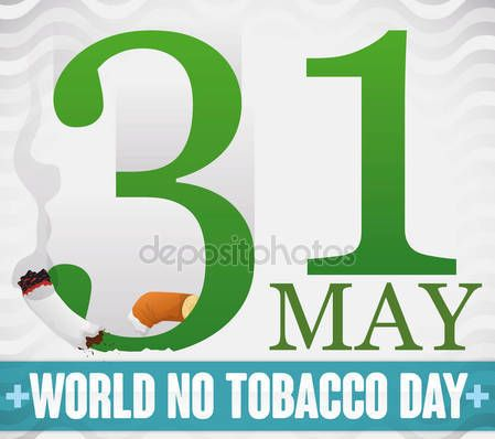 Reminder Date and Sliced Cigarette for World No Tobacco Day