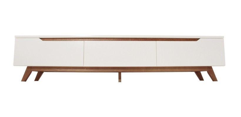 ida banc tv en bois blanc 180 cm