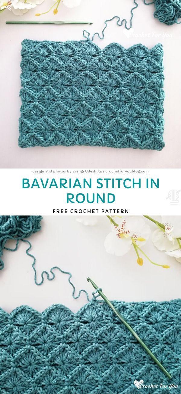 Bavarian Stitch in Round Free Crochet Pattern