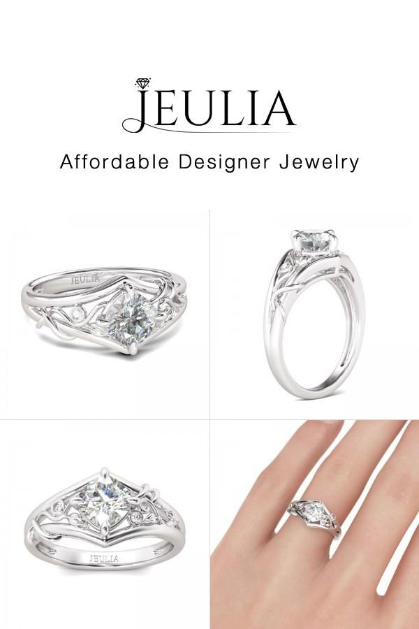 c51760593c3ec6 #Jeulia JEULIA Vines Engagement Ring Cushion Cut Created White Sapphire .  Discover more stunning Nature Inspired Rings from Jeulia.com. Shop Now!