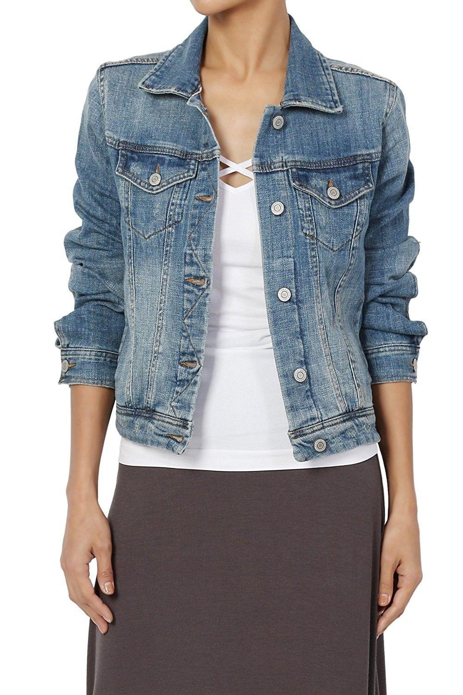 Women S Clothing Coats Jackets Vests Denim Jackets Women S Vintage Blue Stone Washed Denim Cropp Denim Jacket Outfit Distressed Jeans Outfit Denim Jacket [ 1500 x 1000 Pixel ]