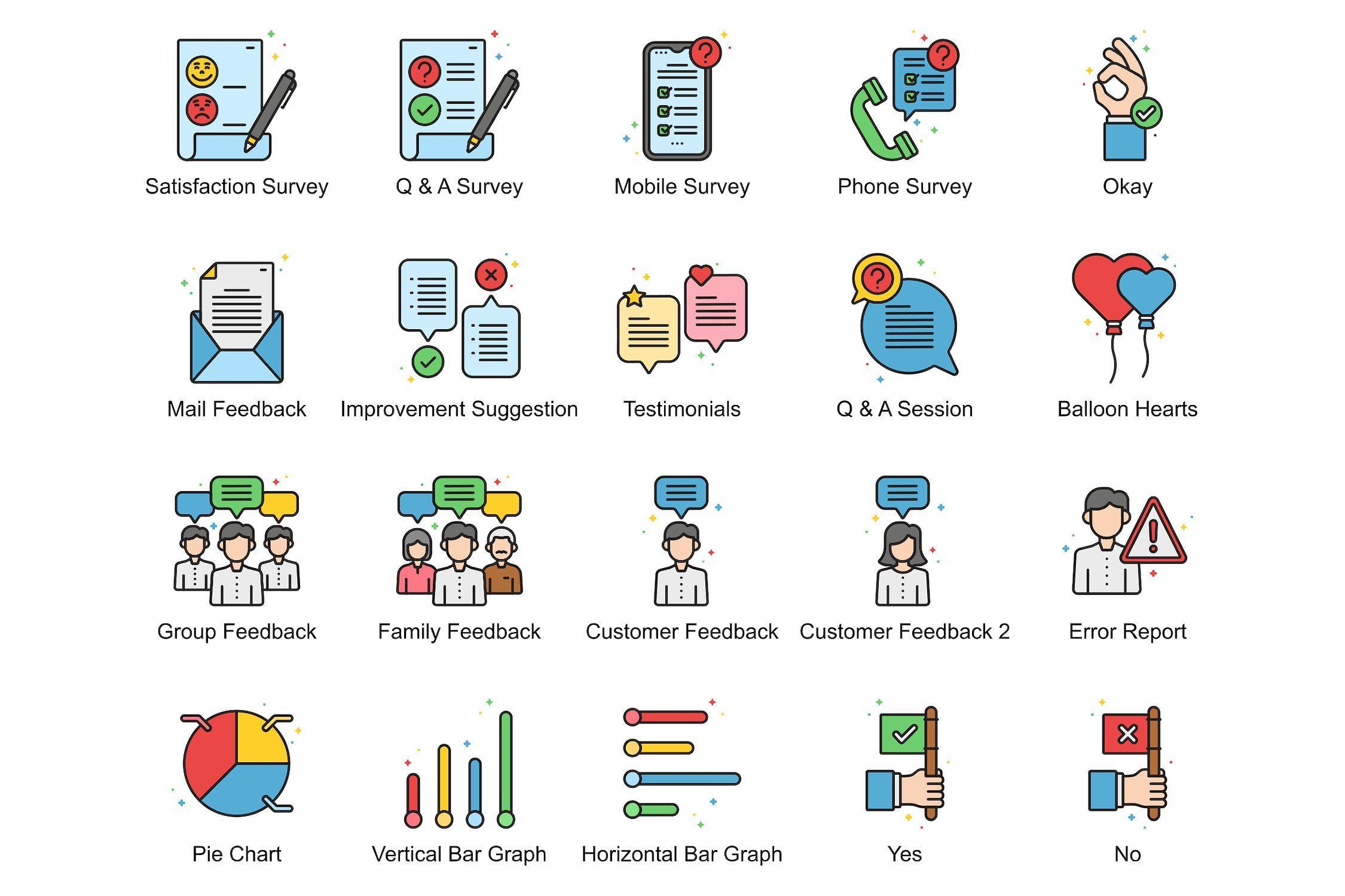 60 Customer Feedback Icons Vivid Bar Graphs Customer Feedback