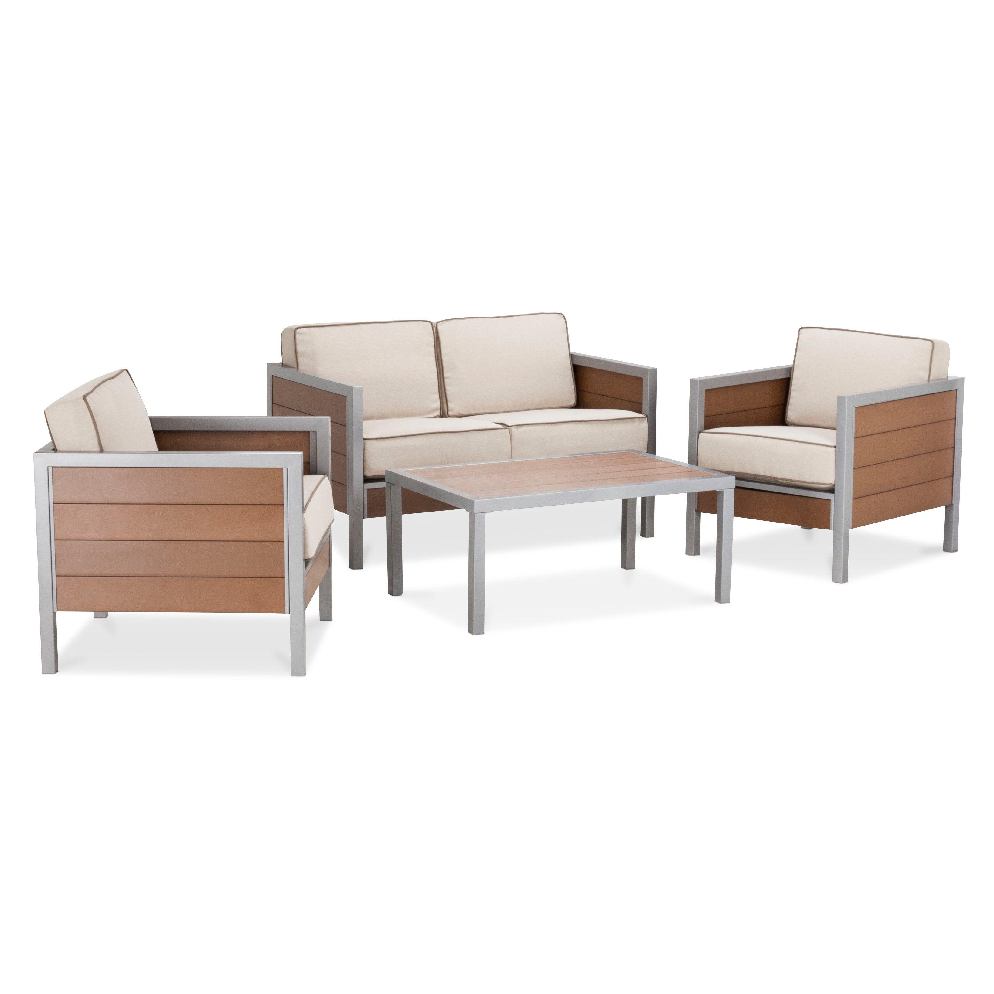 Bryant 4 Piece Faux Wood Patio Conversation Set Threshold Conversation Set Patio Wood Patio Furniture