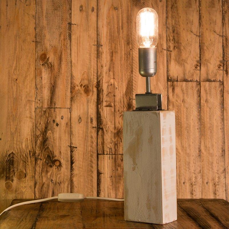Comprar lámpara de sobremesa hecha a mano con madera reciclada de ...