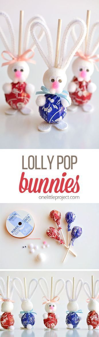 These lolly pop bunnies are SO CUTE and they're really simple to make! They're adorable treats for an Easter basket, or even for the Easter table! So fun! #artsandcraftsforgirls, #SimpleArtAndCraft