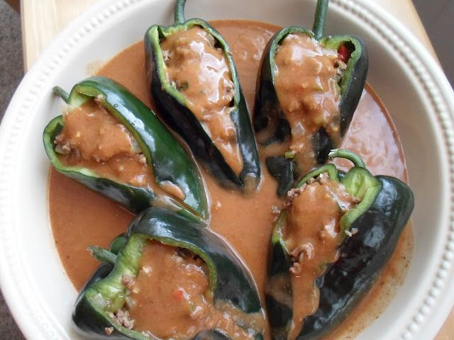 Beef Enchilada stuffed Poblanos with homemade enchilada sauce @Happier Than A Pig In Mud