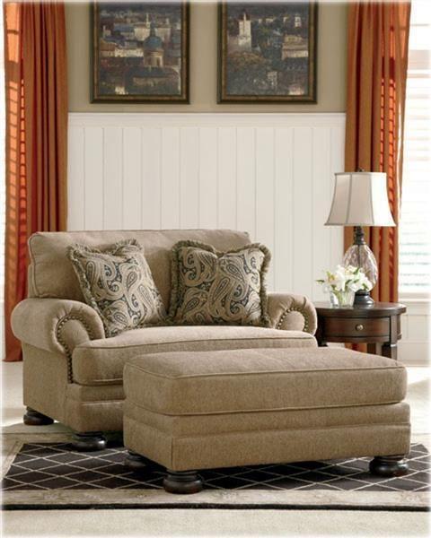 Keereel Traditional Sand Fabric Chair & Ottoman Set