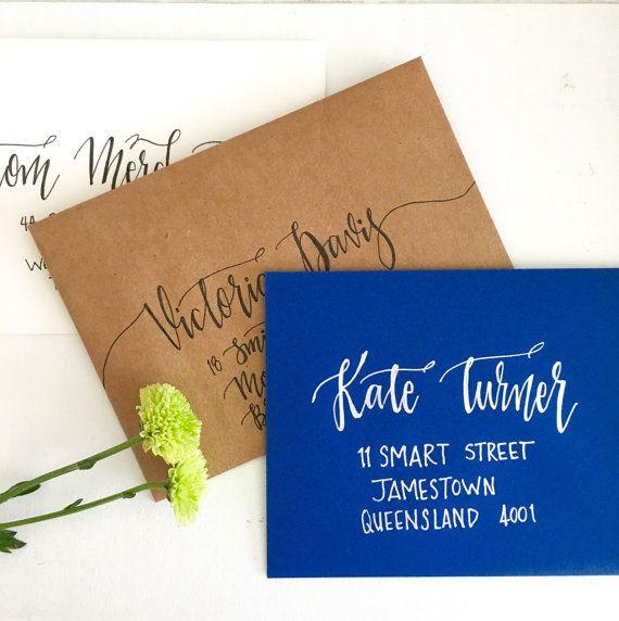 Kalligraphie Hochzeit Umschläge Hand gelettert von CocoPress