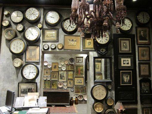 Hand blown pink glass chandelier, antique clocks, vintage ...