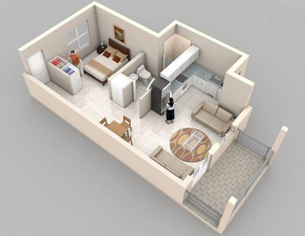 Plano de departamento de un ambiente con balc n for Apartamentos pequenos planos