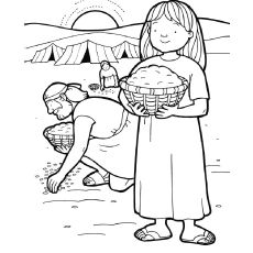 Gathering Manna Coloring Page Bible Lessons Bible Crafts