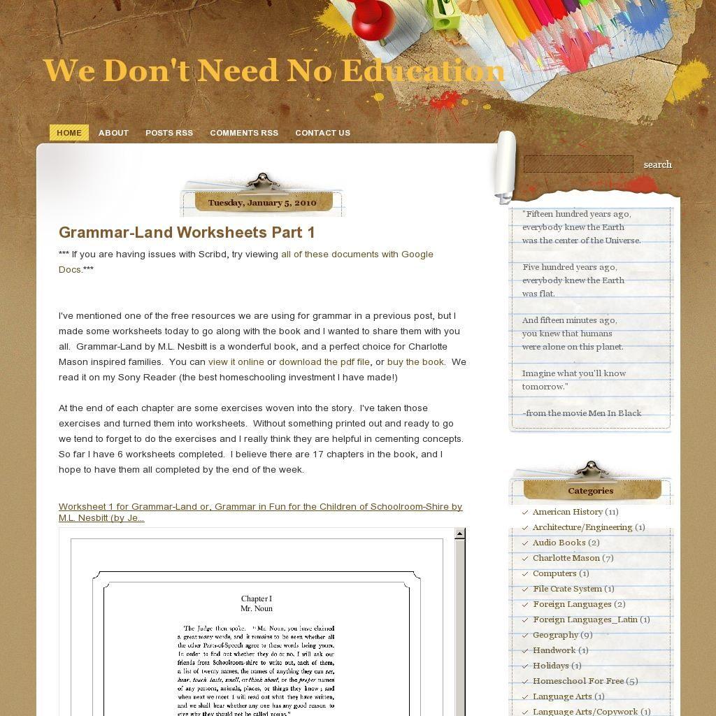 Grammarland Worksheets