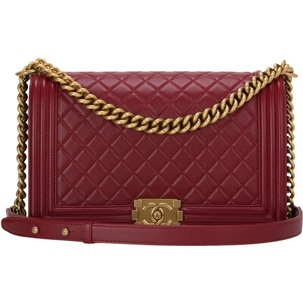 66c618b81b85 Pre-Owned Chanel Dark Red Quilted Lambskin New Medium Boy Bag ($6,800) ❤  liked on Polyvore featuring bags, handbags, red, antique purse, red purse,  ...