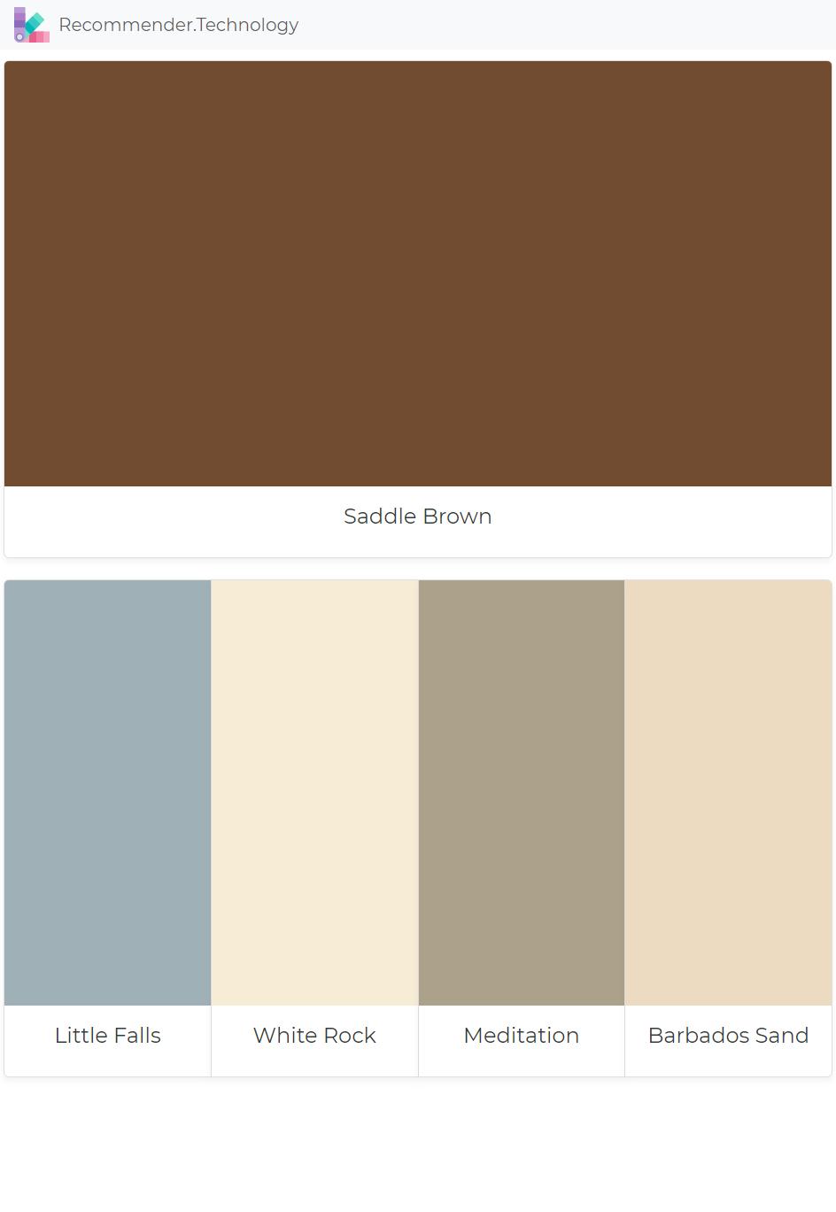 Saddle Brown Little Falls White Rock Meditation Barbados Sand Paint Color Palettes
