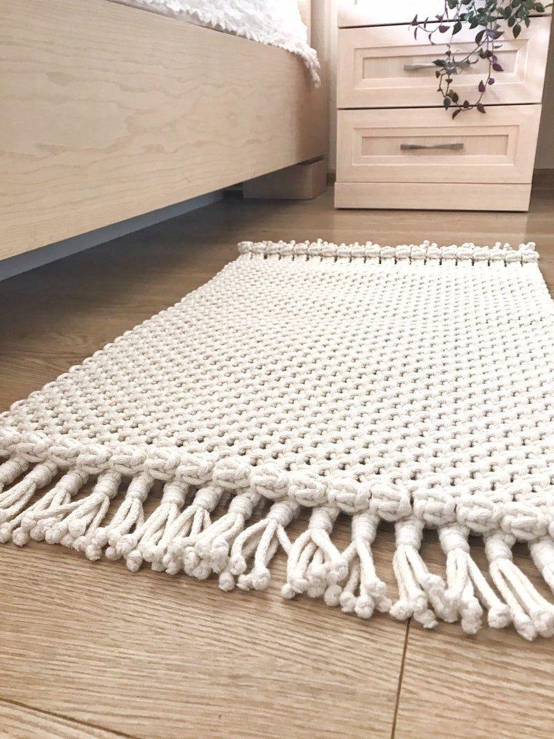 Macrame Rug Boho Placemat Cotton Rug Bedside Rug Rectangular Etsy Cotton Rug Eco Decor Boho Rug