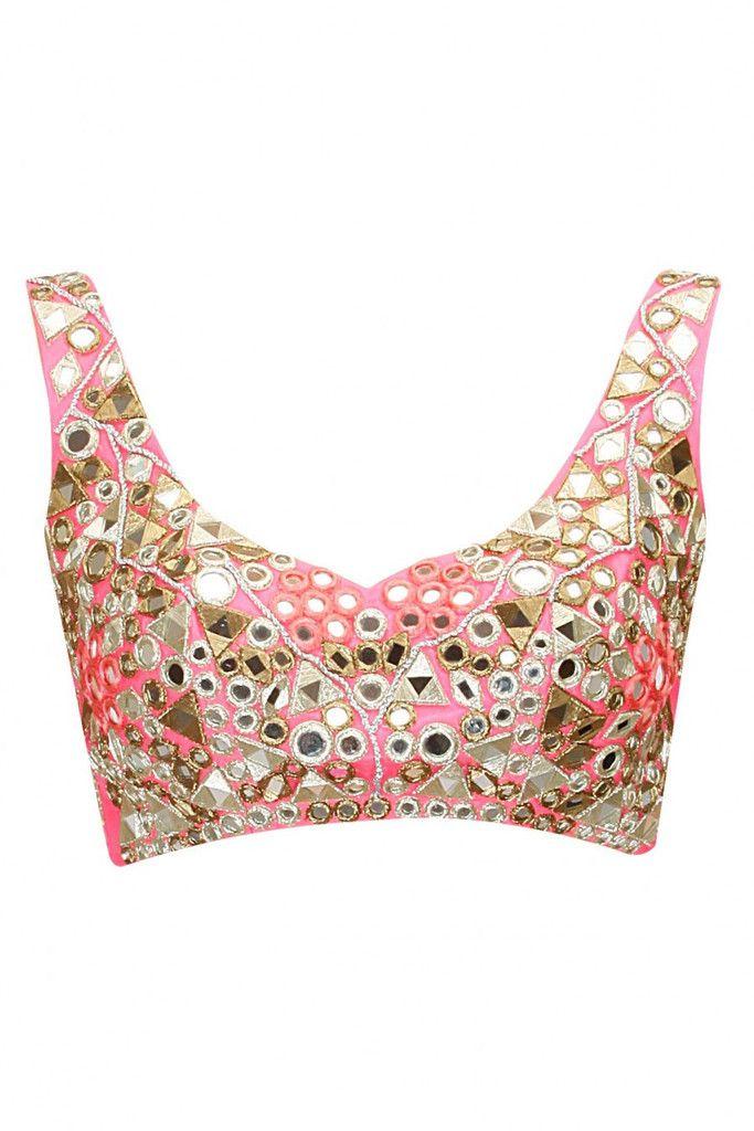 Pink colour sari | Patrones, Blusas y Bordado