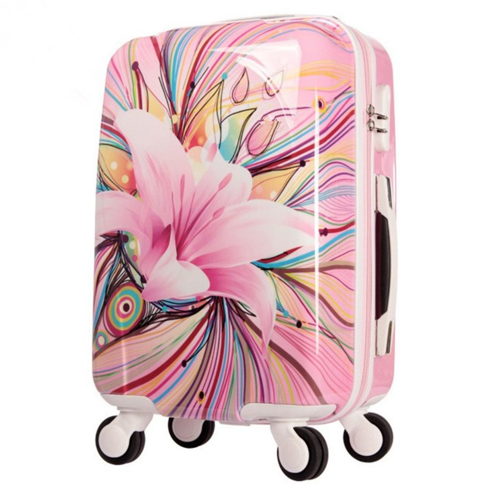 Womens Hard Shell Luggage Girls Pink lily Trolley case Valise ...