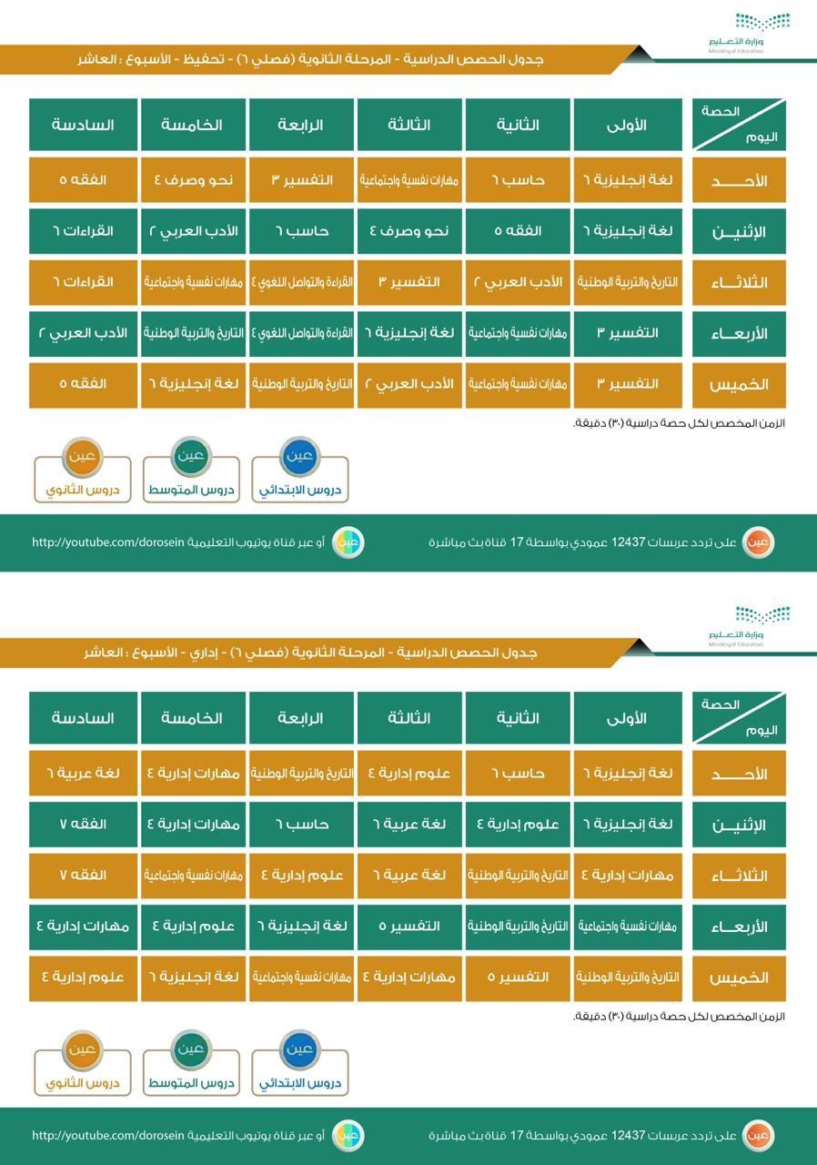 جدول دروس الاسبوع العاشر ثانوي فصلي تحفيظ واداري عين التعليمة 1441هـ Screenshots