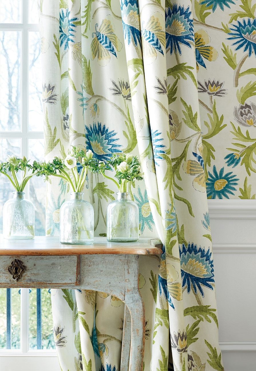 Lizette wallpaper in navy and cream fabric textiles - Green curtain patterns ...