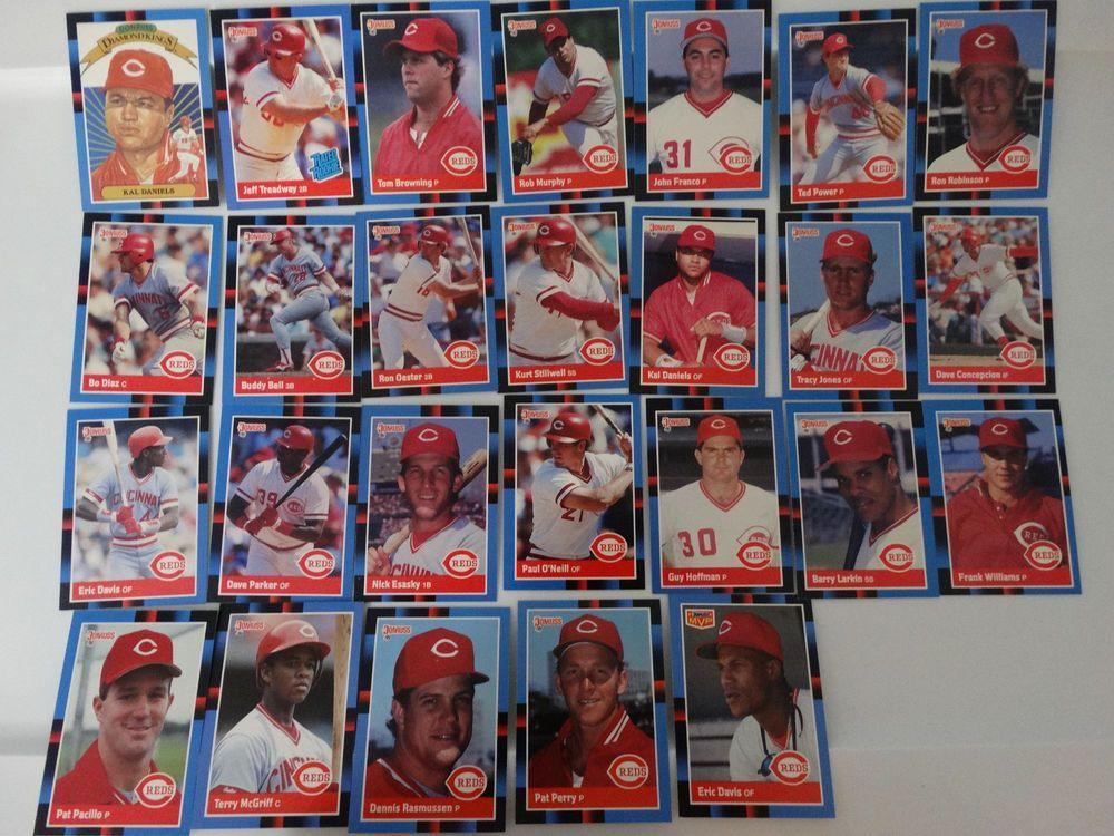 1988 donruss cincinnati reds team set of 26 baseball cards