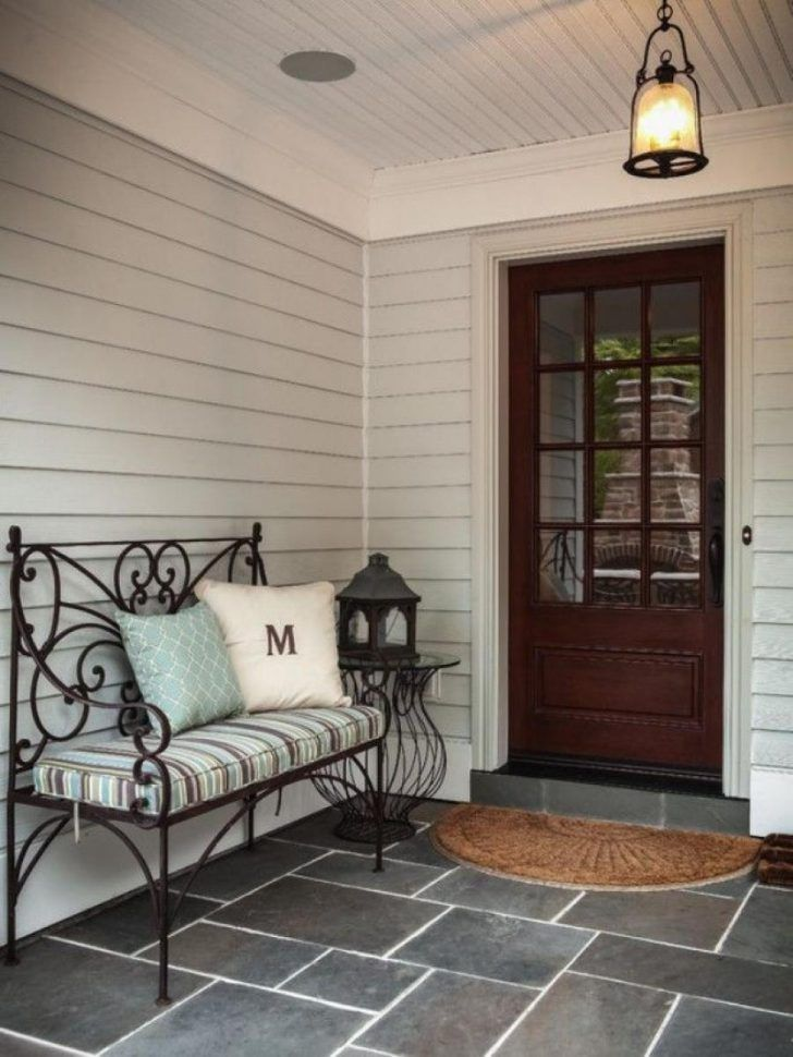 Fabulous Wrought Iron Benches With Striped Cushion Plus White And