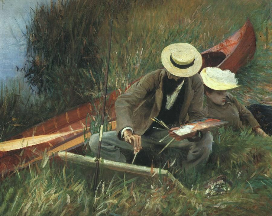 Paul Helleu stands with his wife by John Singer Sargent Giclee Repro on Canvas