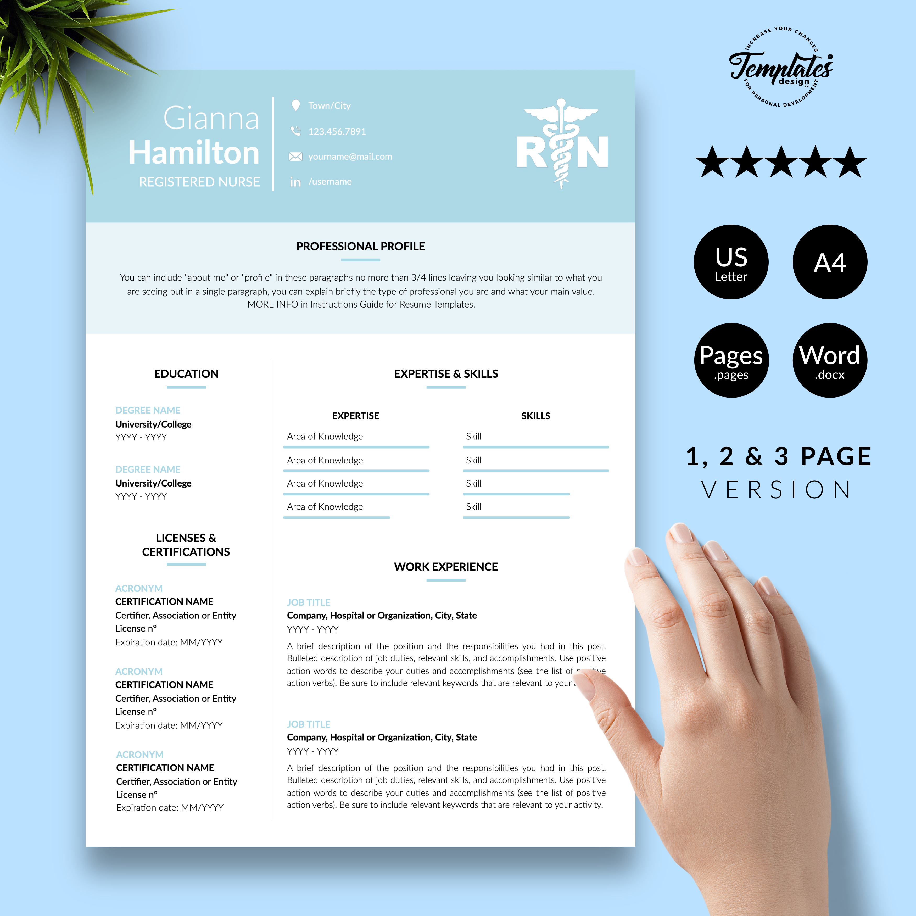 Registered Nurse Resume Template For Word Pages Nursing Etsy Nursing Resume Template Resume Template Word Reference Letter Template