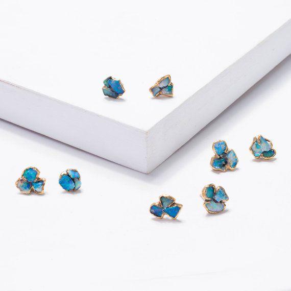0d1748c5c Mini Raw Opal Cluster Stud Earrings, Raw Stone Earrings, Gold ...